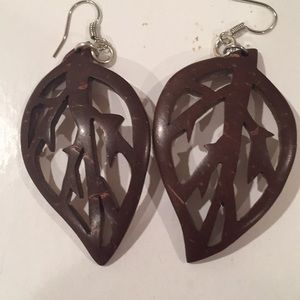 Handcarved coconut shell earrings